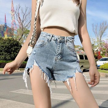 """Calvin Klein Jeans"" Fashion Ripped Worn High Waist Denim Shorts Hot Pants Women Jeans"