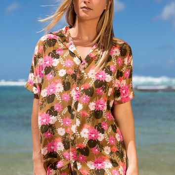 ACACIA Swimwear 2018 Mombasa Silk Shirt Dress in Lei Day