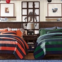 Beadboard Rugby Stripe Bedroom