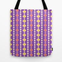 Artistic stripes in orange yellow on purple Tote Bag by cycreation