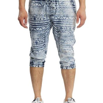 Men's Aztec Print Denim Jogger Shorts JC380 - I4A