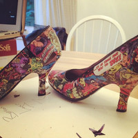 Shoes and heels decoupaged with comic book panels of your choice.