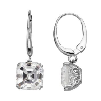 Emotions Sterling Silver Drop Earrings - Made with Swarovski Zirconia (White)