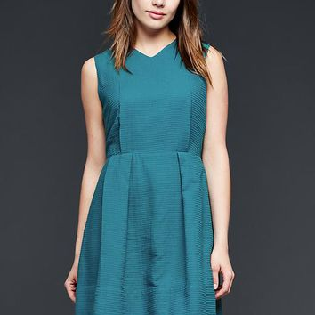 Gap Women Dobby V Neck Fit & Flare Dress