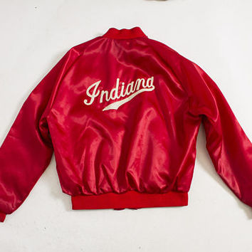 Vintage 1970s Satin Jacket - Red INDIANA Chain Stitched 70s - Medium M