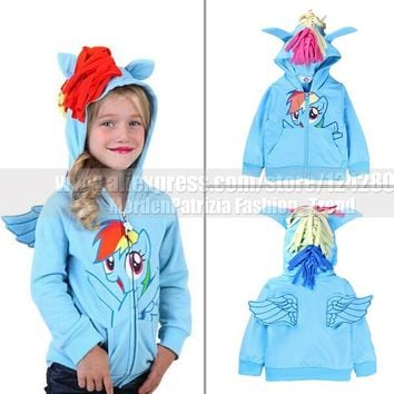 Kids favorite my little pony hoodies cosplay costume baby girls horse cartoon hoody children autumn sweatshirt baby pony coat