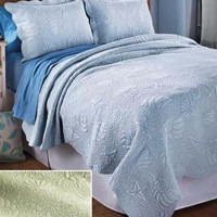 Bedding Set 3 Pce King Coastal Ocean Sea Shells Tropical Quilted Scalloped