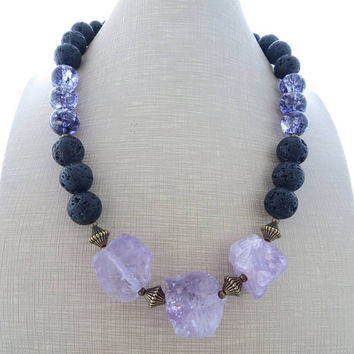 Purple amethyst necklace, black lava rock necklace, chunky necklace, big bold necklace, stone choker, beaded necklace, contemporary jewelry