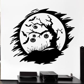 Wall Decal Darkness Night Bats Pumpkin Halloween Tree Vinyl Decal Unique Gift (ed375)