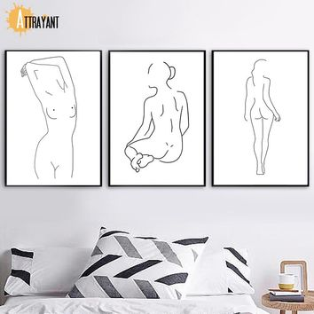 Minimalism Naked Girl Body Art Yoga Wall Art Canvas Painting Posters And Prints Wall Pictures For Living Room Bedroom Home Decor