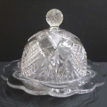 butter dish with dome cover pressed glass pineapple pattern scalloped edge