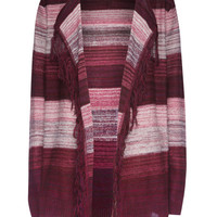 Full Tilt Ombre Stripe Girls Hooded Wrap Sweater Burgundy  In Sizes