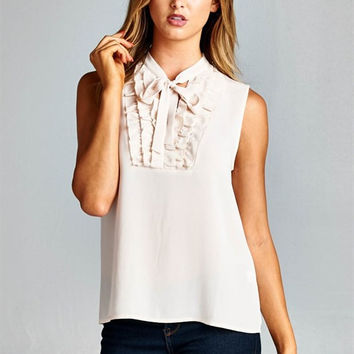 Fashion Women Nude Woven Sleeveless Top Mock Neck Ruffle Bow Relaxed Casual Cute
