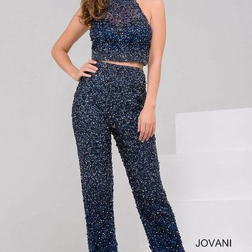 Navy Halter Neck Two Piece Beaded Jumpsuit 36697