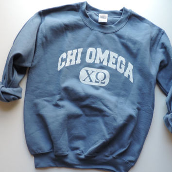 New Chi Omega Blue & White Crewneck Sweatshirt // Size SMALL  // Ready To Ship