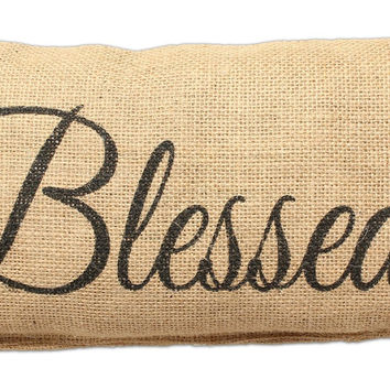 Blessed - Small Jute Burlap Accent Throw Pillow