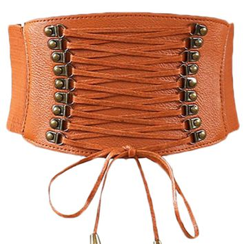 Atomic Brown Leather Lace Up Cinched Corset Belt
