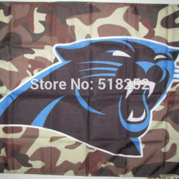 Carolina Panthers Camo Background Flag 3x5 FT 150X90CM NFL Banner 100D Polyester Custom flag grommets 6038, free shipping