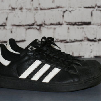 90s Adidas sneakers three strip classic trainers shell toe black white shoes / Grunge punk goth Festival hipster us 6 youth 5 kids leather