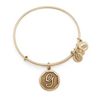 Alex and Ani Initial G Charm Bangle Bracelet - Rafaelian Gold Finish
