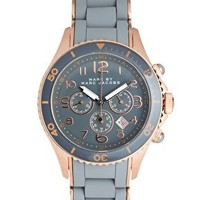 Marc By Marc Jacobs Grey And Rose Gold Chronograph Bracelet Watch at asos.com