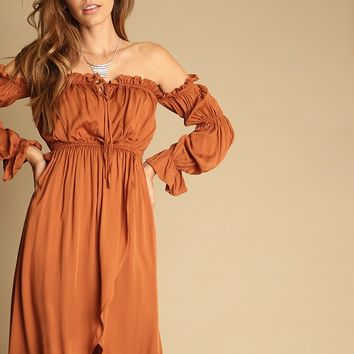 Walk Away Off Shoulder High Low Dress | Threadsence