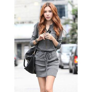 Gray Zippered Long Sleeve Drawstring Dress
