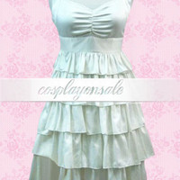 Lolita Costumes White V-Neck Ruffles Cotton School Lolita Dress [T110376] - $82.00