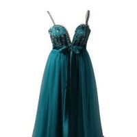 Winey Bridal® Teal Spaghetti Strap Tulle Bling Crystals Maternity Evening Prom Dresses