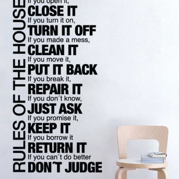 Quote wall decal - Rules of the House - Wall Decals , Home WallArt Decals