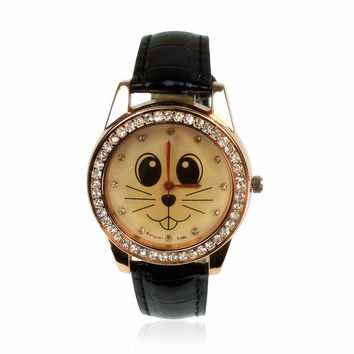 Cute Cat Face Rhinestone-studded Watch Free Shipping