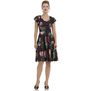 Voodoo Vixen Black Floral Flare Dress