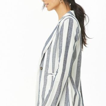 Striped Linen-Blend Blazer