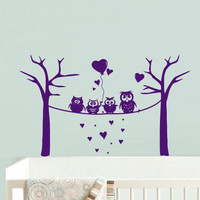 Wall Decal Vinyl Sticker Decor Art Bedroom Design Mural Nursery Kids Baby Owl Baloons Bubbles Funny (z733)