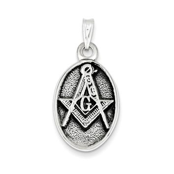 Sterling Silver Antiqued Masonic Pendant