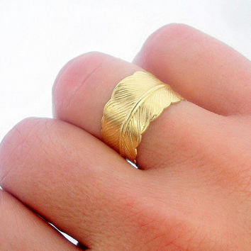 Feather  Ring - Brass Feather Ring-  by Little Thing's