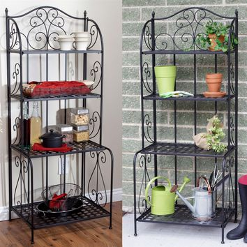 Indoor / Outdoor  Folding Metal Bakers Rack Plant Stand with 4 Shelves