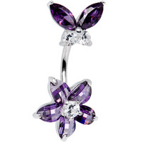 Sterling Silver 925 Amethyst Cubic Zirconia Floral Butterfly Belly Ring | Body Candy Body Jewelry