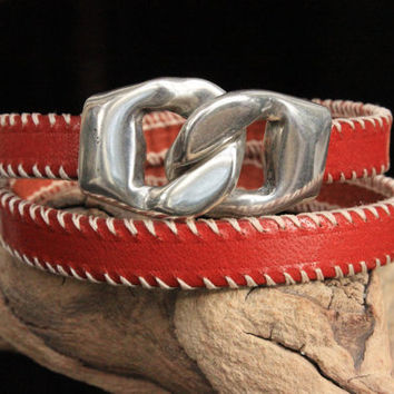 Double Wrap Leather Bracelet with Silver Slide Clasp