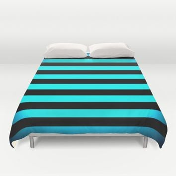 Stripes Aqua Blue & Black Duvet Cover by SimplyChic