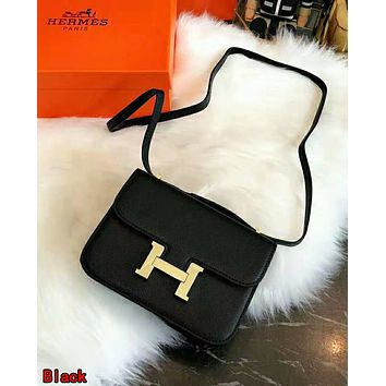 Hermes High Quality Fashionable Women Leather Crossbody Satchel Shoulder Bag Black