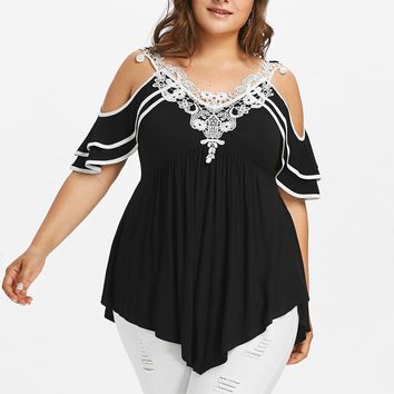 Gamiss  Plus Size 5XL Sexy Off the Shoulder Lace Crochet Tunic Top Women Big Size Summer 2018 Boho Ruffle Tshirts Ladies Blusas