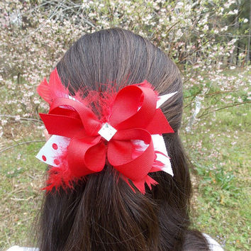Girls Red Hair Bow, Red and White, feathers, rhinestone,  stacked