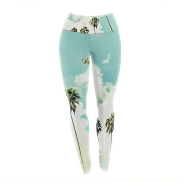 "Richard Casillas ""Paradise And Heaven "" Blue White Yoga Leggings"