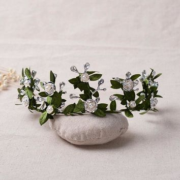 Romantic Wedding Tiara Crown Green Leaf Flower Hairbands Fairy Vine