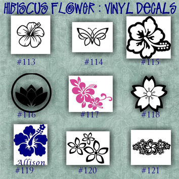 HIBISCUS FLOWER vinyl decal | water bottle decal | car decals | car stickers | laptop sticker - 113-121