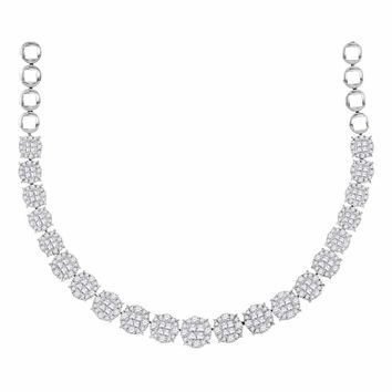 14kt White Gold Women's Princess Diamond Soleil Cluster Luxury Necklace  10 Cttw - FREE Shipping (US/CAN)