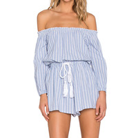 Toby Heart Ginger Sailing Off The Shoulder Romper in Blue & White Stripe