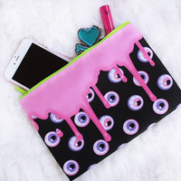 Black Drippy Eye Makeup Bag