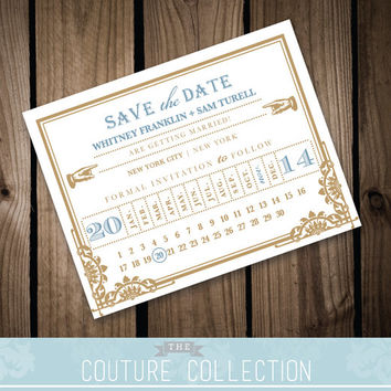 Art Deco Ticket - SAVE the DATE card - Vintage, Art Deco Train Ticket (Customizable) Printable DIY Wedding Invitation Digital File